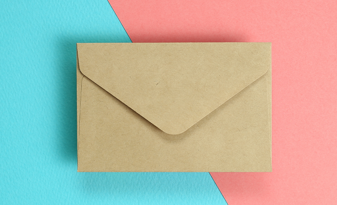 envelope on coloured card